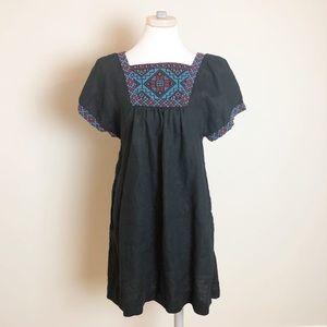 Madewell Embroidered Wander Dress Black 100% Linen